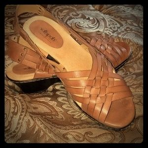 Leather low wedge sandal. NWOT